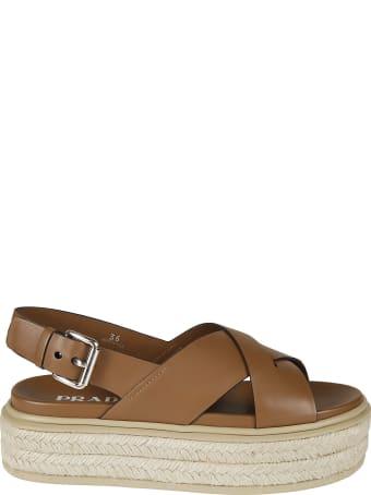 Prada Side Buckled Wedge Sandals