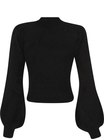 Amen Fur Applique Ribbed Sweater