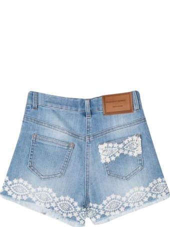 Ermanno Scervino Junior Denim Shorts With Embroidery