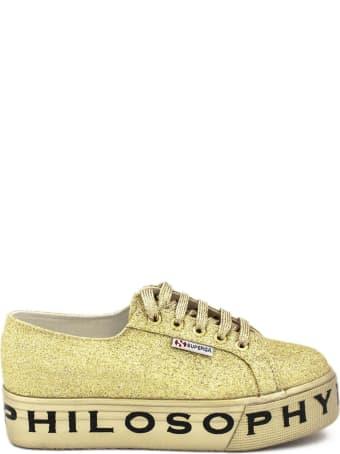Philosophy di Lorenzo Serafini Superga Sneaker By Philosophy In Gold-tone Glitter.