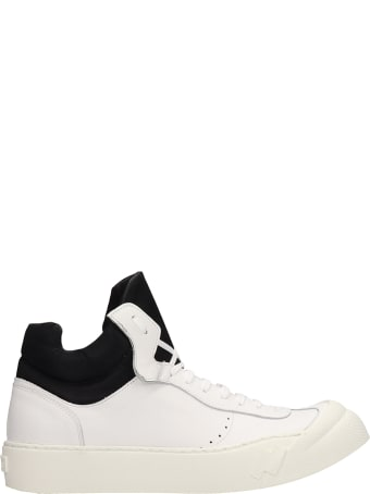 Cinzia Araia White Leather Mid Sneakers