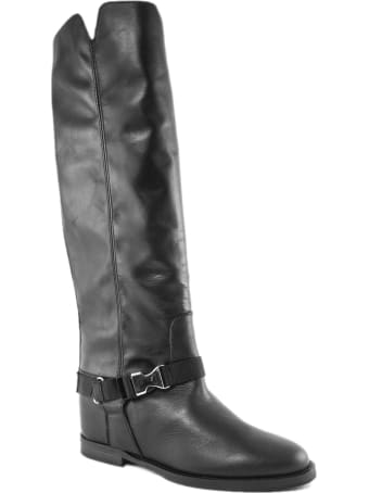 Via Roma 15 Black Leather High Boot