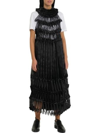 Noir Kei Ninomiya Pleated Ribbon-detail Crepe Midi Dress