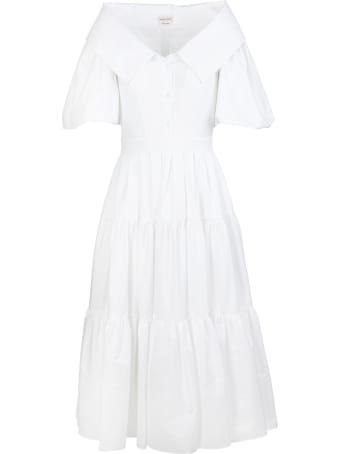 Alexander McQueen White Poplin Midi Dress With Open Collar