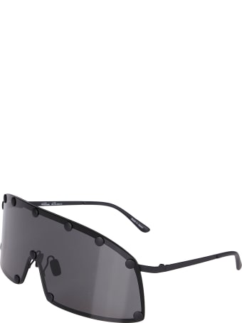 Rick Owens Black Stainless Steel Sunglasses