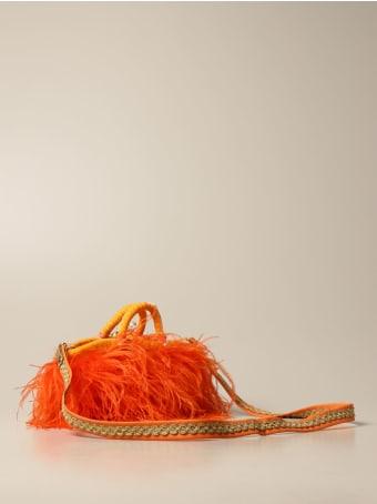 Sikuly Mini Bag Coffa Bag Piume Orange P. Sikuly With Feathers