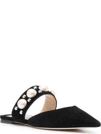 Jimmy Choo Bassette Suede Mules With Pearl Insert
