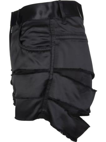 Givenchy Destroyed Effect Black Satin Shorts