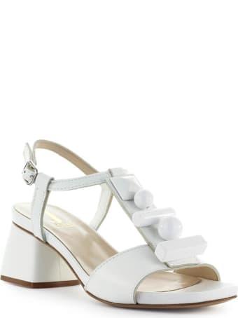 Jeannot White Leather Mid-heeled Sandal