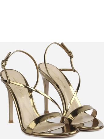 Gianvito Rossi Manhattan Sandals In Metallic Leather