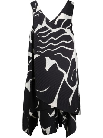 Issey Miyake Pleated And Printed Dress