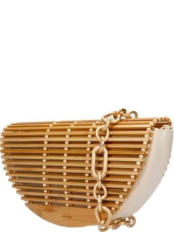 Cult Gaia Celine Shoulder Bag In Beige Wood
