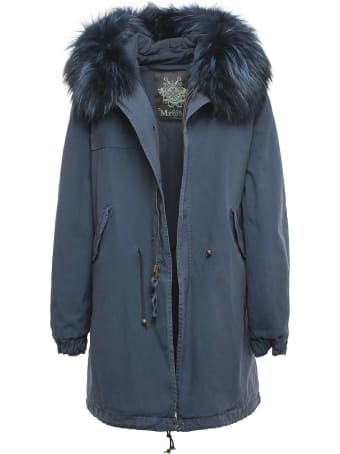 Mr & Mrs Italy Exclusive Fw20 Icon Parka: Night Blue Parka With Raccoon Fur