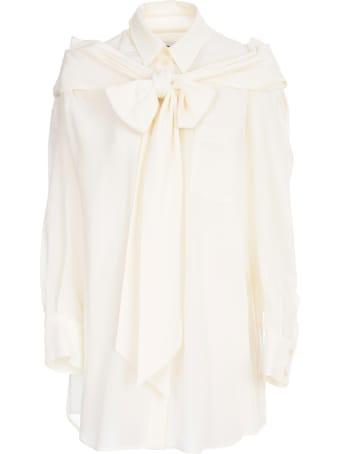 Simone Rocha Masculine Bow Shirt Silk