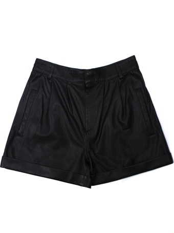 Federica Tosi Black Leather Shorts