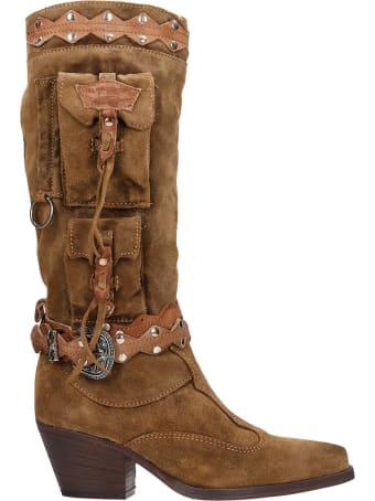 El Vaquero Gelding Texan Boots In Leather Color Suede