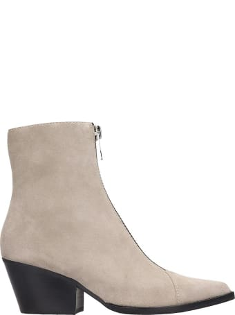 Jeffrey Campbell Landyn Low Heels Ankle Boots In Taupe Suede