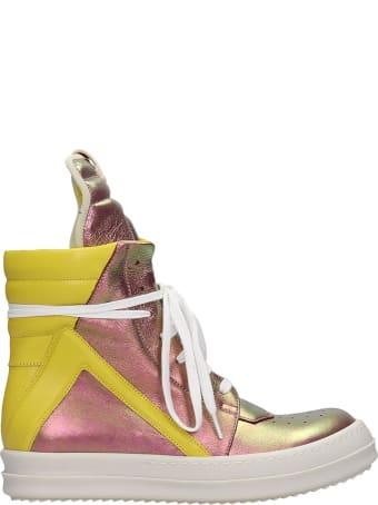 Rick Owens Geobasket Sneakers In Viola Leather