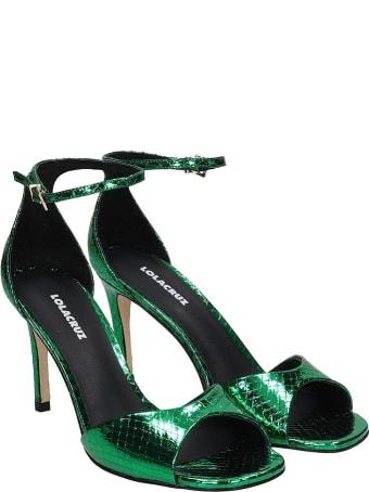 Lola Cruz Sandals In Green Leather