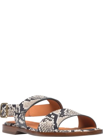 Chie Mihara Pythoned Flat Sandals