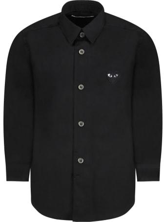 Comme des Garçons Play Black Shirt For Kids With Black Heart