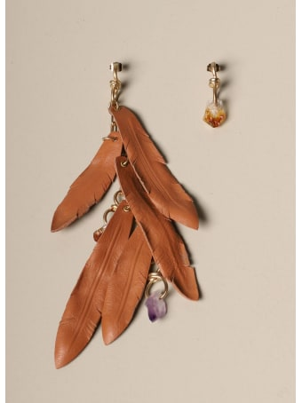 Dsquared2 Jewel Dsquared2 Earrings With Leaves In Nappa And Stones