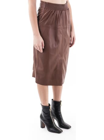 Trussardi Leather Midi Skirt