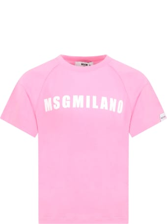 MSGM Pink T-shirt For Girl With Logo