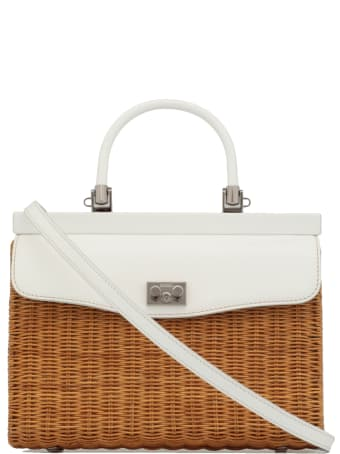Rodo Wicker And Leather Hand Bag