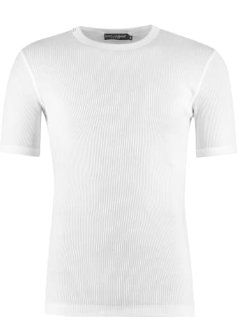 Dolce & Gabbana Ribbed Cotton Crew-neck T-shirt