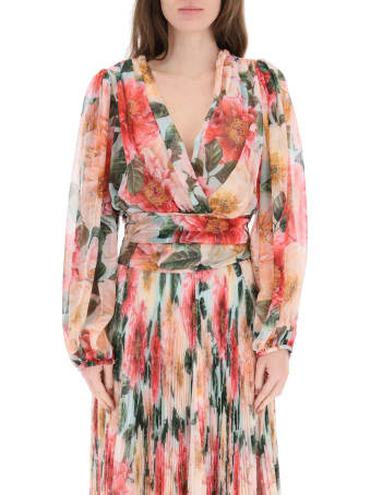 Dolce & Gabbana Camellia Print Chiffon Shirt