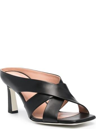 Pollini Crossed Mules In Black Leather
