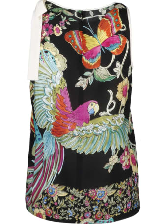 RED Valentino Bird Of Paradise Silk Bow Top