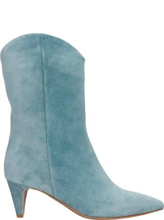 Julie Dee High Heels Ankle Boots In Petroleum Suede