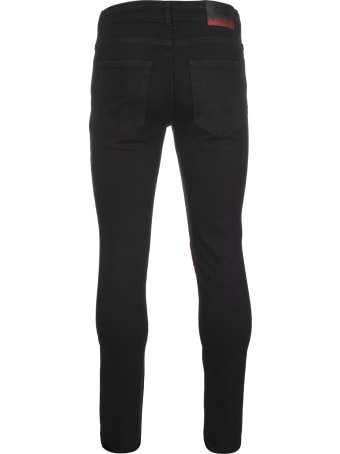 Vision of Super Man Skinny Jeans In Black Denim With Red Flame