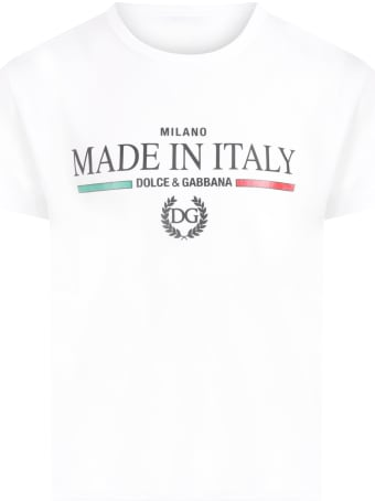 Dolce & Gabbana White T-shirt For Kids With Logos