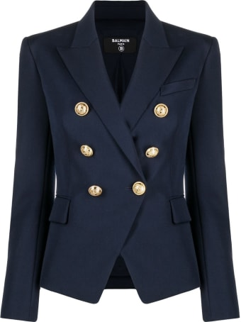 Balmain Double-breasted Blue Viscose Blazer