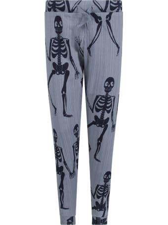 Mini Rodini Light Blue Boy Sweatpants With Blue Skeletons