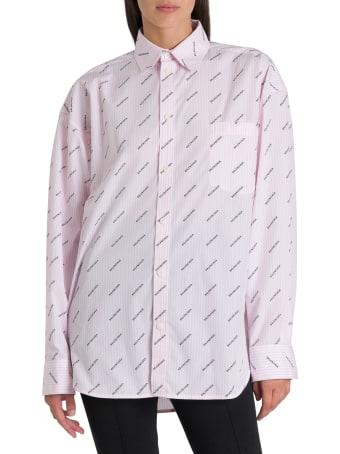 Balenciaga Camicia Masculine A Righe Verticali E Logo Allover