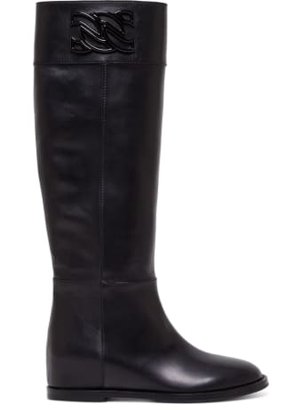 Casadei Leather Boots With Logo Buckle