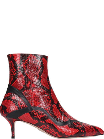 Paula Cademartori Ankle Boots In Red Leather