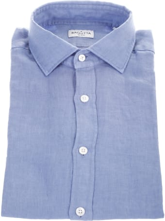 Bagutta light blue linen shirt