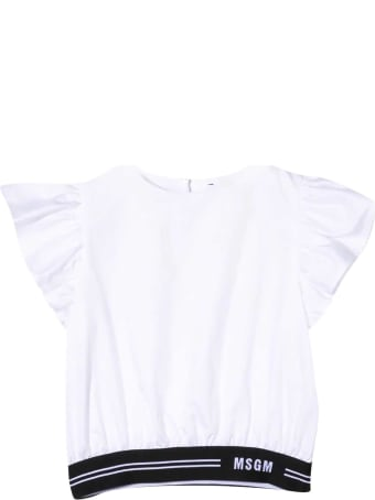MSGM White Blouse With Black Logoed Band