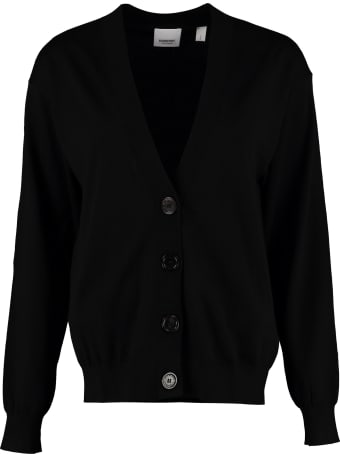 Burberry Merino Wool Cardigan With Elbow-patches