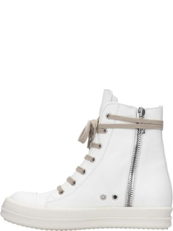 Rick Owens Sneaker High Sneakers In White Leather