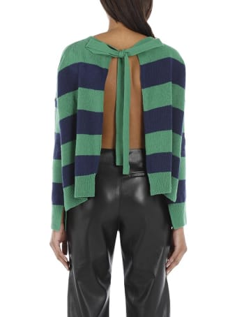 Marni Striped Wool And Cashmere Sweater With Open Back