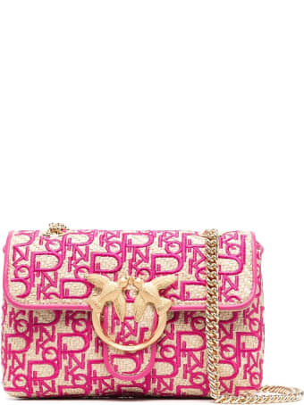 Pinko Love Mini Raffia And Fabric Crossbody Bag