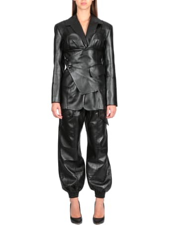 MATÉRIEL Faux Leather Blazer W Corset