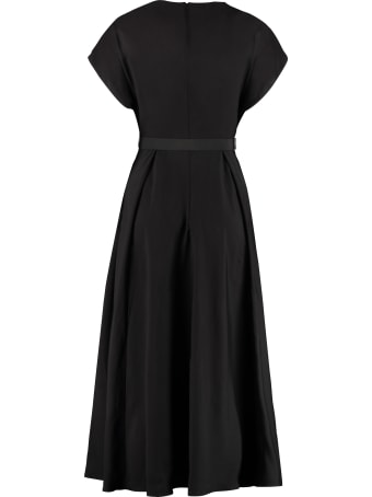 Prada Gathered Flared Crepe Dress
