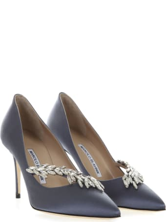 Manolo Blahnik Navy Nadira Jewel Pumps